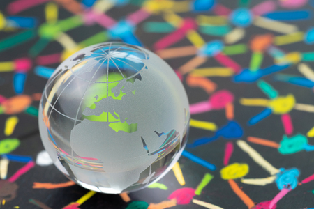 Decoration glass globe with Europe map on blackboard of colorful connecting dot as financial and economics network using as Euro and brexit impact concept.