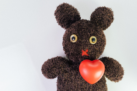 Red heart on cute brown handmade fluffy doll with pitty eyes, healthcare for children or kids, medical learning class.