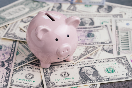 Pink piggy bank or coin bank on pile of US dollar banknotes money, investment growth, financial background or saving deposit concept.