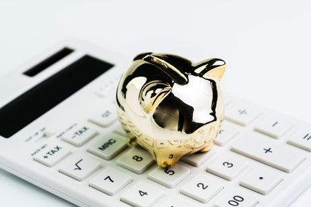Budget, cost or investment calculation and financial activity concept, golden shiny piggy bank wearing glasses on white calculator on white background. Banco de Imagens