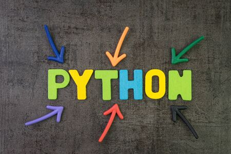 Python modern programming language for software development or application concept, multi color arrows pointing to the word Python at the center of black cement chalkboard wall. Stock fotó
