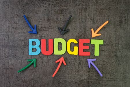 Budget, financial planning or balance calcultation concept, multi color arrows pointing to the word Budget at the center of black cement chalkboard wall.