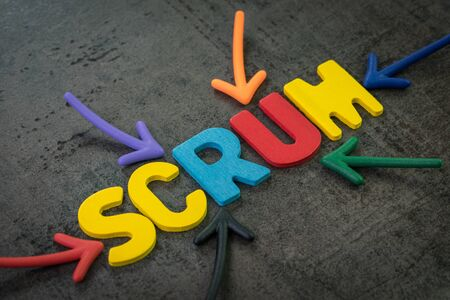 Scrum master method for agile software development concept, multi color arrows pointing to the word Scrum at the center of black cement chalkboard wall, allows a team to make changes quickly. Stock fotó