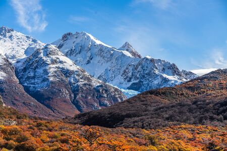 Beautiful view of mountain range with white snow peak with colorful red orange leaves tree in sunny blue sky day, autumn, El Chalten, south Patagonia, Argentina. 写真素材