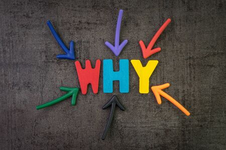 Why, business idea to ask for person or customer concept, multi color arrows pointing to the word WHY at the center of black cement chalkboard wall.