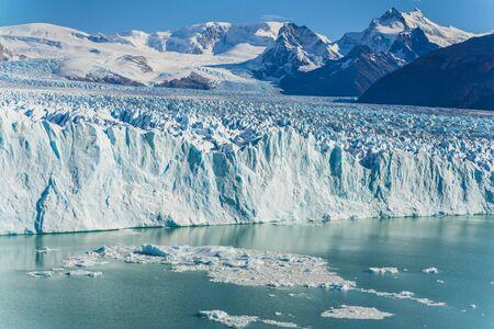 Amazing view of Perito Moreno peak with glacier, blue ice burg glacier on  aqua blue lake in Los Glaciares National Park, Santa Cruz, Argentina, southern Patagonia ice field.