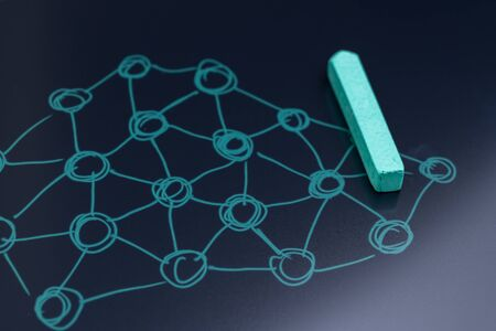 Machine learning for artificial intelligence, neural network nodes, social network or modern decentralize blockchain concept, chalk drawing connecting dot with line as a network on chalkboard.