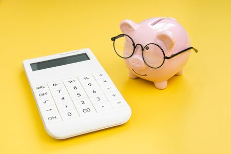 Piggy bank wearing glasses looking at calculator on yellow background using as budget, tax cost and expense calculation or money and finance concept.