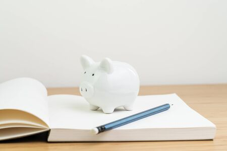 Income, tax, savings, personal finance planning or investment concept, white piggy bank on blank opening note book with pencil on wooden table.