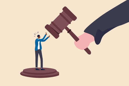 Social inequality, discrimination, injustice and unfairness for black people or racism on people of color concept, judge using huge justice hammer to punish small black people or African American man. Ilustración de vector