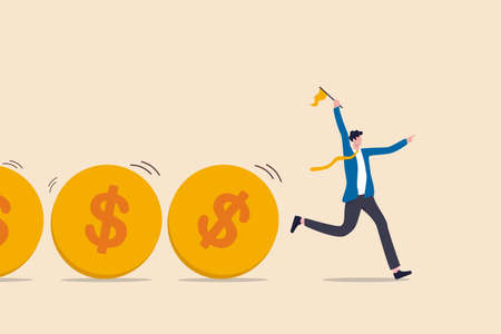 Cash flow, investment fund flow, fund raising, bank loan or financial activity to making money or profit concept, Businessman leader or investor holding flag control flow of money Dollar coins. Vector Illustration