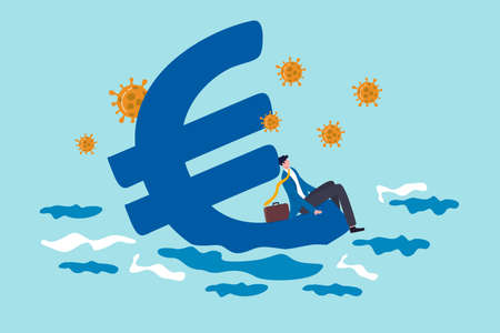 Euro economic recession from COVID-19 Coronavirus outbreak, European Central bank stimulus policy concept, hopeless business man sit on Euro currency symbol sinking into the sea with virus pathogen.