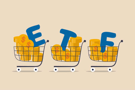 ETF, Exchange Traded Funds realtime mutual funds that tracking investment index trading in stock market concept, shopping carts or trolley full of Dollar money coins with alphabet combine the word ETF Vetores