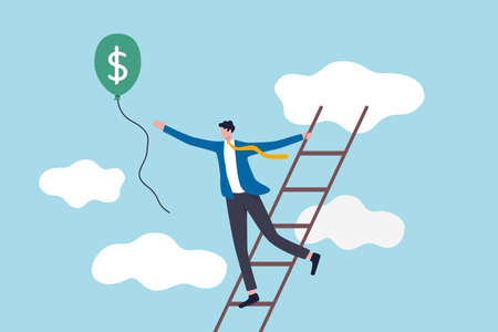 Ladder of success, achieving financial goals or investor searching for profit and investment return concept, success businessman climb up the ladder up to cloud to catching balloon with dollar money.