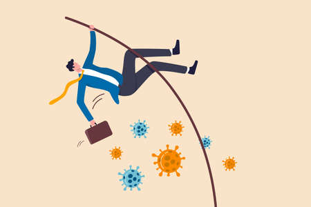 Business to survive in Coronavirus crisis or success solving problem and achieve business goal in COVID-19 pandemic concept, confident businessman leader jump pole vaulting over Coronavirus pathogen.