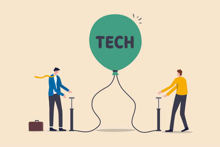 Technology or Tech stock bubble, overvalued stock causing by economic crisis and greedy investors concept, businessmen investor take risk by pumping air into ready to burst balloon with the word TECH.