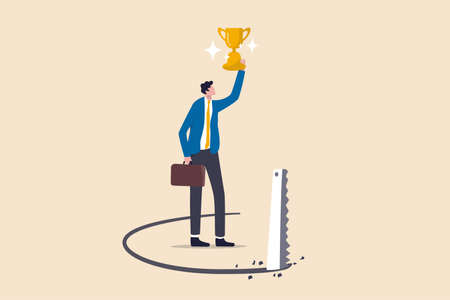 Success trap, problem with career or betrayal in business deal concept, success businessman holding award winning trophy cup with competitor sawing floor under neath.