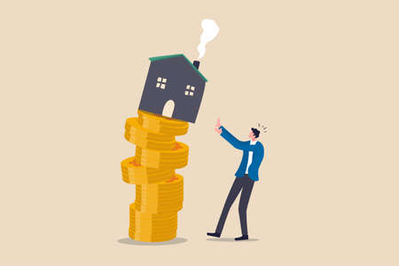 Property and housing market collapse, real estate stock risk or economic recession concept, businessman house owner or real estate agent help protect the house to fall off unstable stack of coins.