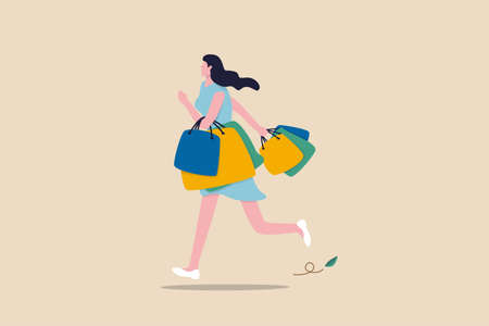 Shopping at retail store, happiness and joyful of buying discount stuff, shopaholic or fashionable concept, stylish cheerful lady woman walking and carrying lot of shopping bags.