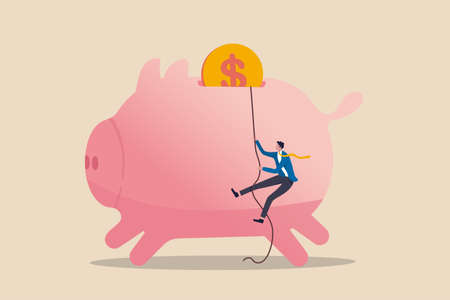 Personal finance strategy, income tax or investment target for office worker retirement concept, confidence businessman using rope to climb up pink piggy bank with golden money coin as final target.