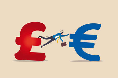 Unfinished, no deal or hard Brexit, negotiation or agreement fail by government of UK United Kingdom to leave EU European Union concept, businessman try hard to hold on UK Pound and Euro money sign.