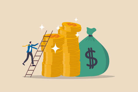 Ladder of success in financial target, career path income achievement or investment for retirement concept, young businessman climbing the ladder to top of stack of money coins rich and wealthy goals.