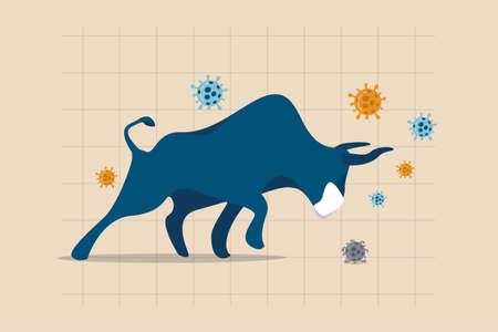 Bull market in COVID-19 outbreak, stock market recover from Coronavirus crisis or economic stimulus make stock price rising concept, raging bull wearing face mask on chart and graph, virus pathogen.