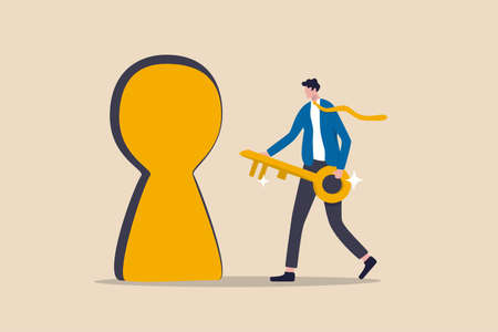 Key to success, unlock secret door to growing business, opportunity for career path or goal achievement concept, confidence businessman holding golden key and running to unlock keyhole to reach target