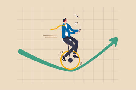 Investment risk, insurance, business opportunity to grow up in economic crisis concept, confidence investor businessman blindfold and juggling knifes riding unicycle one wheel on green rising up graph Ilustrace
