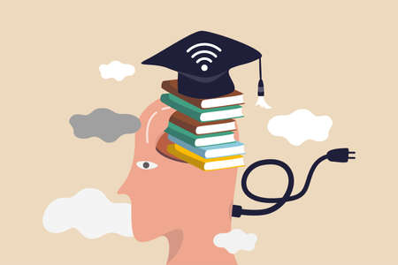 Online study, remote university or e-learning and internet teaching or online education concept, smart man with stacked of books insert into his brain with graduation hat with internet wifi signal.