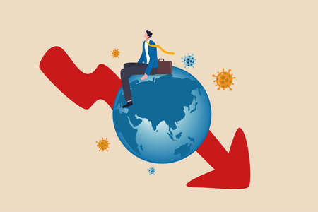 Global economic recession, COVID-19 Coronavirus pandemic causing world great depression concept, depressed poor businessman sitting on sickness globe with red arrow down chart with virus pathogen.