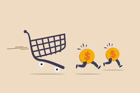 Over spending, consumerism or payment for expensive shopping cost causing debt and financial problem concept, dollar money coins running away from aggressive hunting creditor shopping cart or trolley. Illusztráció