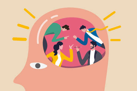 People brainstorming for big idea and business solution, teamwork or collaboration discuss creative thinking concept, business office people brainstorming in human brain with bright lightbulb effect.