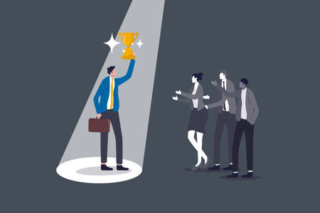 Recruitment talent choose best man for job, being recognized for hard work or value visibility on working skill, confidence winner businessman holding trophy cup with spotlight on with colleagues.