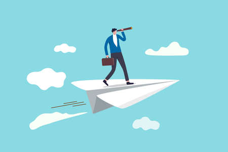 Confidence businessman leader on flying high paper plane looking forward through telescope. Vektorgrafik