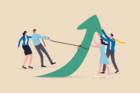 Teamwork and collaboration colleagues, togetherness and support each other to achieve business goal concept, group of businessmen and women office workers help and support to pull arrow rising up.
