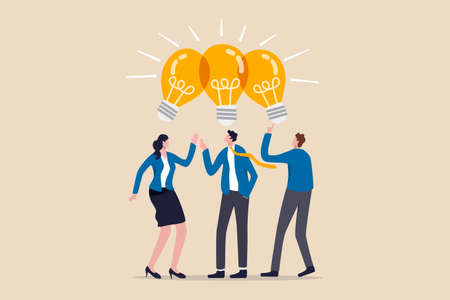 Sharing business ideas, collaboration meeting, sharing knowledge, teamwork or people thinking the same idea concept, smart thinking businessmen people office workers team up share lightbulb lamp idea. Ilustracja