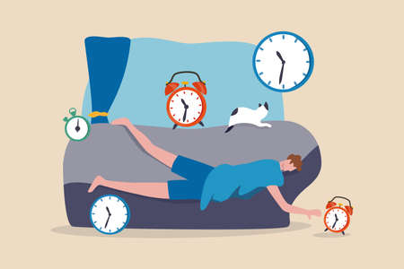 Laziness, low energy overworked man or unproductive procrastination concept, office man sleeping with no power cannot wake up in the morning after fatigue overwork low moral don't want to go to work. 矢量图像