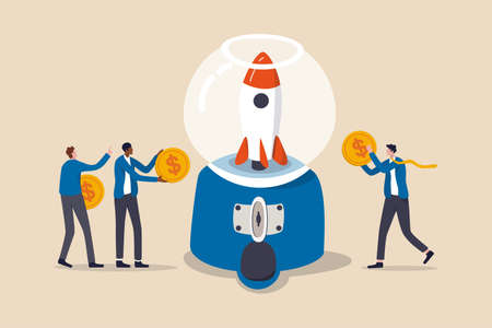 Fund raising, gather money to launch project or people contribute budget and financial support concept, people businessmen holding dollar money coins to contribute in gumball machine to launch rocket.