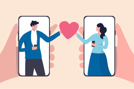 Online dating mobile application, using digital dating service to find lover or relationship concept, young couple millennial man and woman using smart phone application and holding romantic heart.