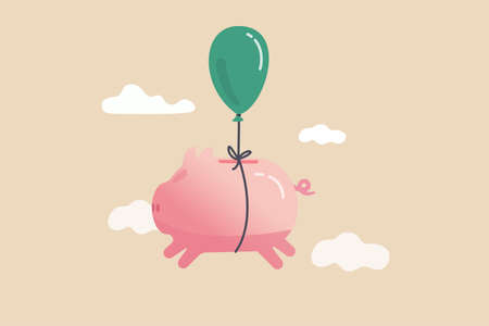 Financial freedom, growth retirement saving or rising profit investment for financial succeed concept, happy cute pink piggy bank floating fly to freedom in the sky minimal style.