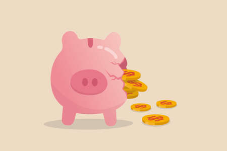 Money loss from investment failure, bad habit problem in personal finance, debt crisis or inflation money reduction concept, depress sadness broken pink piggy bank with money dollar coins pouring out.
