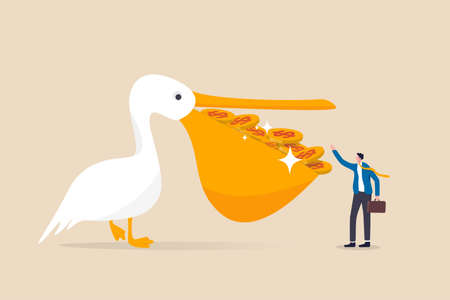 High return investment, bargain stock buying with high profit and dividend, savings and wealth management concept, pelican bird with full of dollar money coins in his mouth giving to rich man investor 矢量图像