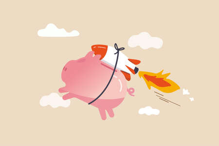 Boost saving and get higher return, solution to fix personal finance problem, pay for loan, mortgage and tax or best pension funds concept, pink piggy bank flying with rocket booster or firework.