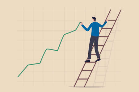 Stock price growth, asset price soaring or rising up, bullish stock market or economic recovery concept, confident businessman trader climbing up ladder to draw green rising up investment line graph. 矢量图像