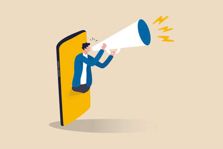 Mobile marketing, digital strategy using influencer or advertising with social media app targeting user smartphone concept, cheerful man telling promotion on megaphone appearing from mobile smartphone