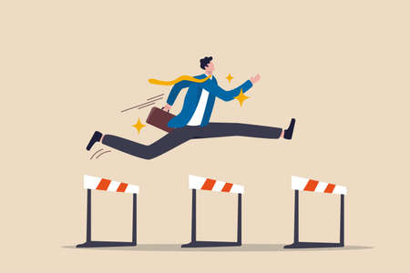 Success to win in business competition, overcome obstacles or motivation to solve problem and lead company achievement concept, confident businessman leader jump high over 3 hurdles to be winner. 矢量图像