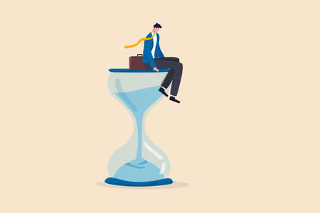 Wasting time waiting and never start new business, time fly or ineffective thinking or laziness concept, depressed businessman sitting on time passing sandglass or hourglass.