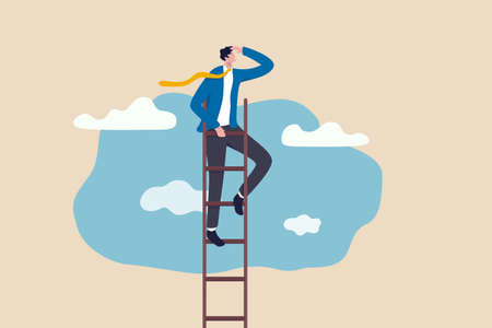 Ladder of success, vision to lead business to achieve goal or opportunity in career concept, smart confident businessman leader climb up to reach top of ladder high in the sky look forward to future.