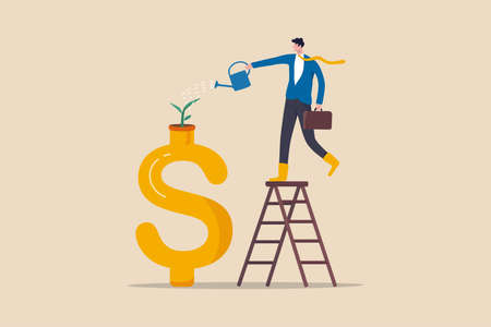 Growth investment, saving and financial prosperity, money increase or profit from growing business concept, businessman investor watering sprout or seedling plant growing from golden dollar sign.